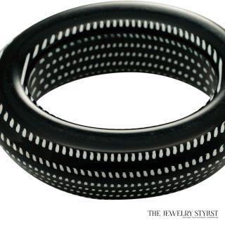 Chunky Italian Black & White Hard Resin Bangle