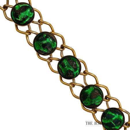 Vintage Emerald Color Foiled Art Glass Link Bracelet