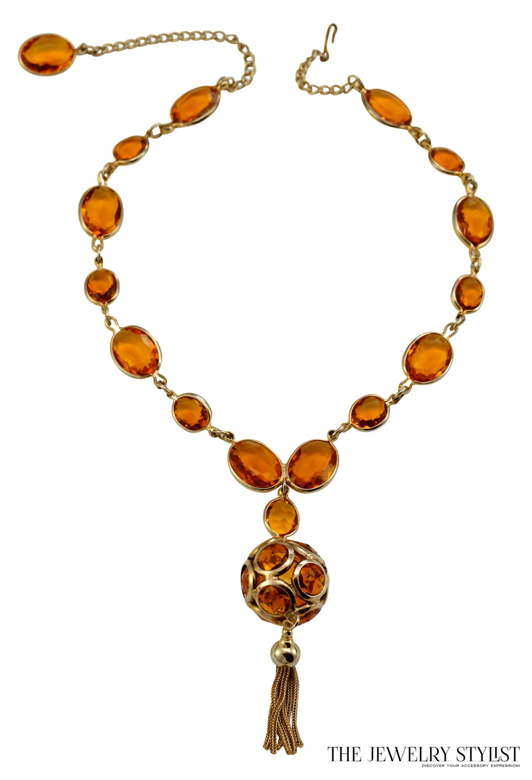 Fab Bezel Set Topaz-Colored Rhinestone Pendant Necklace