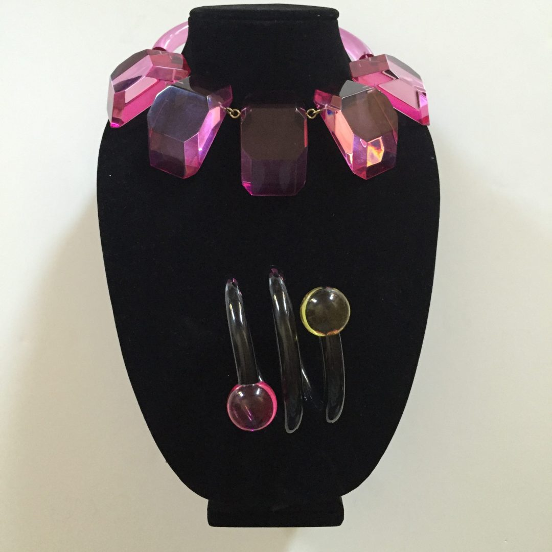 Rare 1980s Hot PInk Judith Hendler Multi-plaque Collar Necklace Styled with a Hendler Bracelet