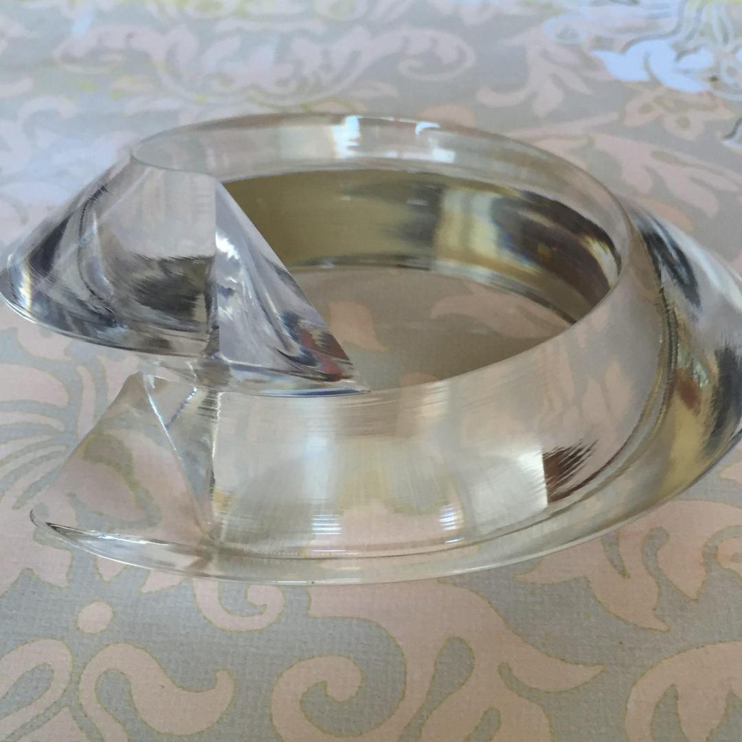 Vintage Clear Acrylic Signature Judith Hendler Bypass Bangle Bracelet