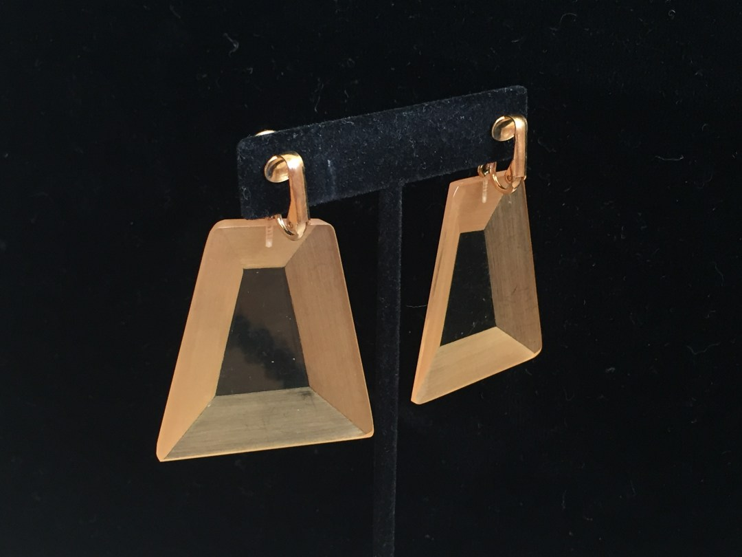 Early Rare Judith Hendler Trapezoidal Hand-Dyed Pendant Earrings back view