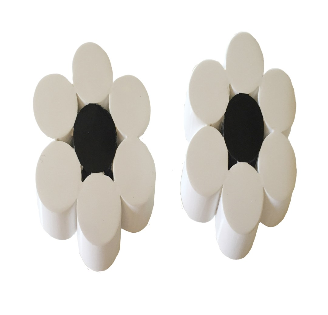 Gorgeous Judith Hendler Floral Motif White and Black Acrylic Earrings