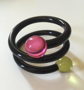 Vintage Judith Hendler Black Wrap Bracelet Topaz and Pink Balls