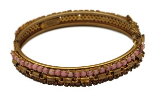 Vintage Miriam Haskell Dusty Pink Cabochons and Purple Rhinestones Hinged Bracelet