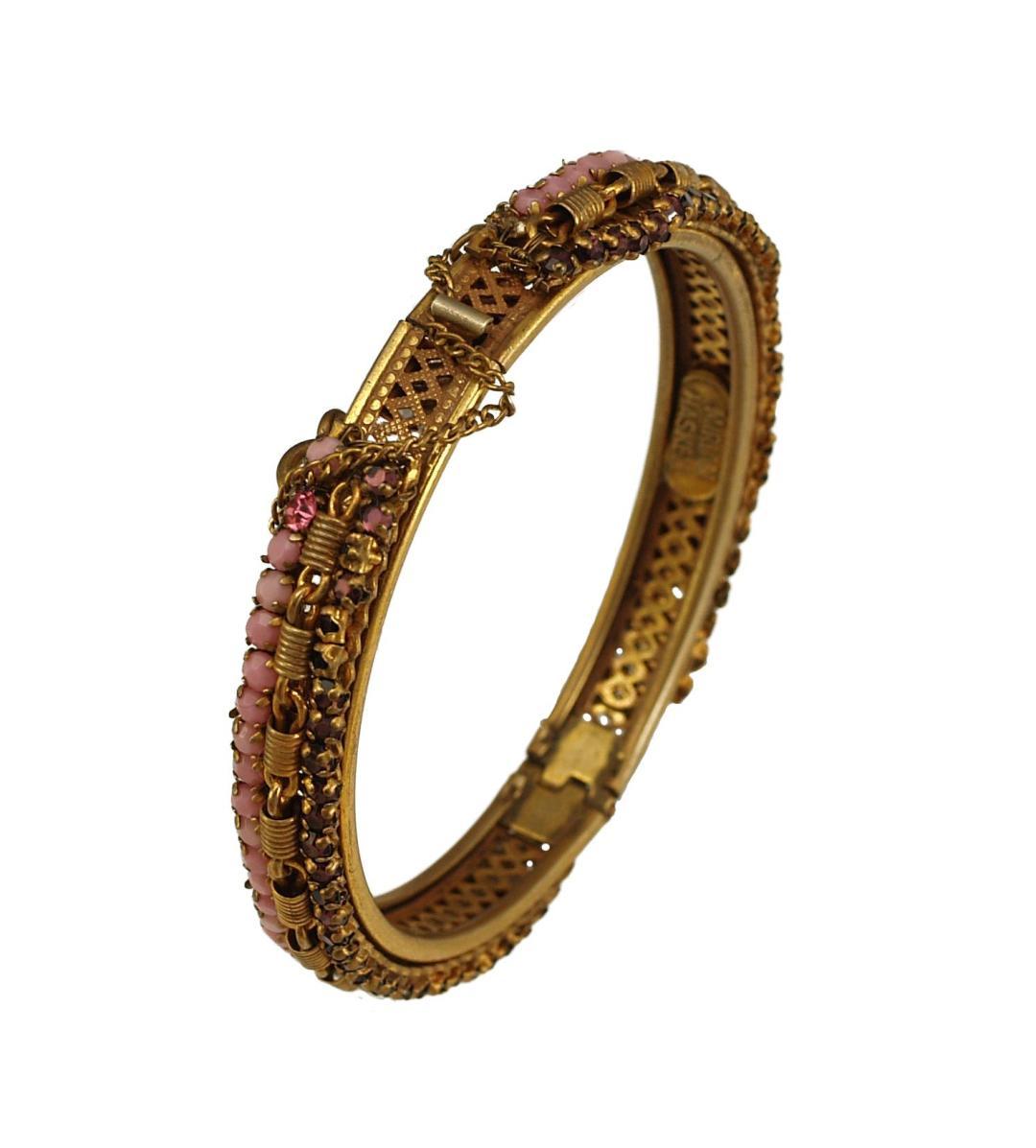 Vintage Miriam Haskell Dusty Pink Cabochons and Purple Rhinestones Hinged Bracelet-1