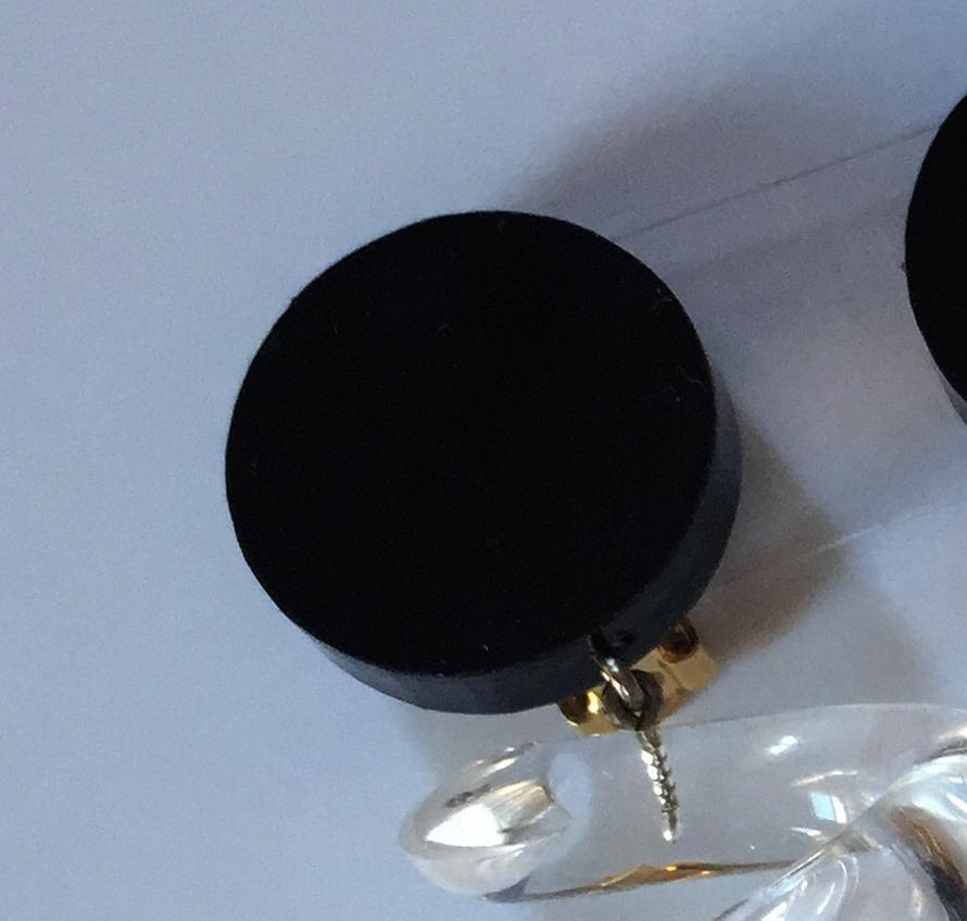 Judith Hendler Black Spiral Earrings Close-up Surmount
