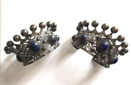 Vintage Peruzzi Italian 800 Silver Crown Motif Cuffs, Brooch and Earring Set