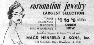 Mack Henfield and Sons Coronation Jewelry WWD 19530313