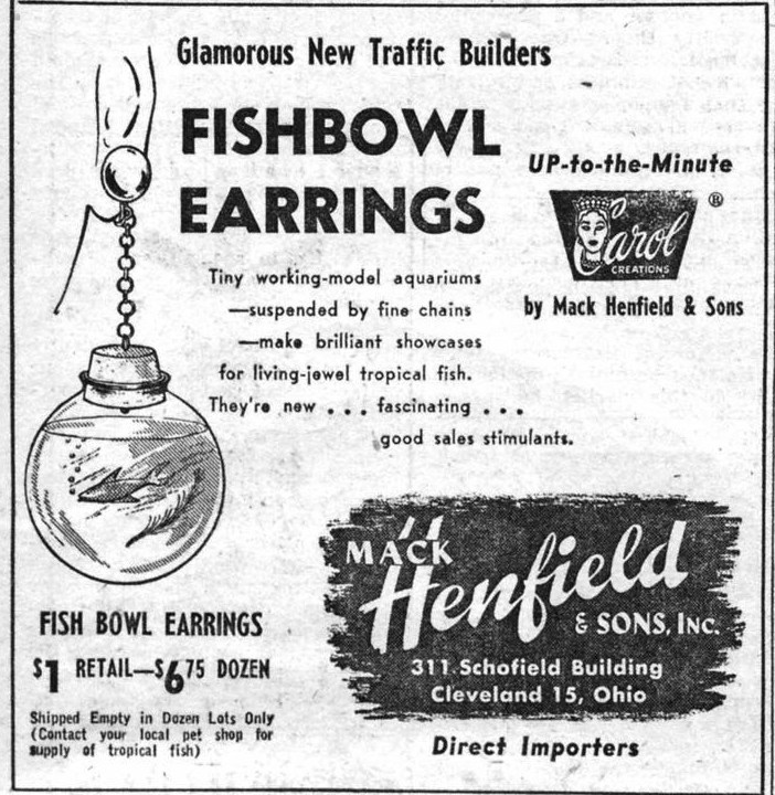 Mack Henfield and Sons Fishbowl Earrings WWD 19540521
