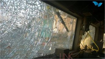 Photos of the scene, and the damaged IDF vehicles from the rioting. Credit: Tazpit News Aegncy.