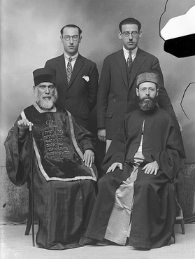 Photos: Courtesy of B'nai B'rith: Greek Rabbi Moshe Pessach seated at left with his two sons in the back.