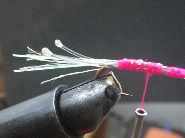 2pink shrimp fly pink thread mono eyes lighter streamer hook superfly barbless flash tinsel flashabou marabou action pearl