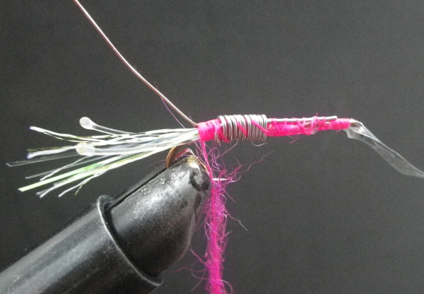 3 pink shrimp fly pink thread mono eyes lighter streamer hook superfly barbless flash tinsel flashabou marabou action pearl pink seal fur dubbing brass wire lead free weight plastic back sow
