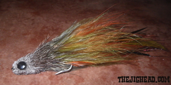 striped bass striper fly marabou deer hair spinning head spun dumbbell eyes