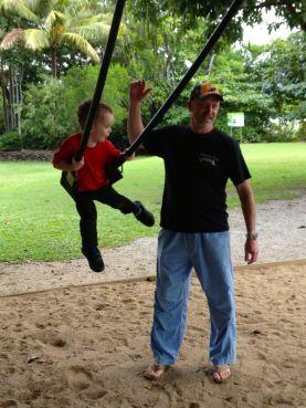 Sam enjoys a swing from Jamie.