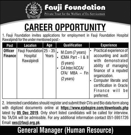 Fauji Foundation Rawalpindi Jobs