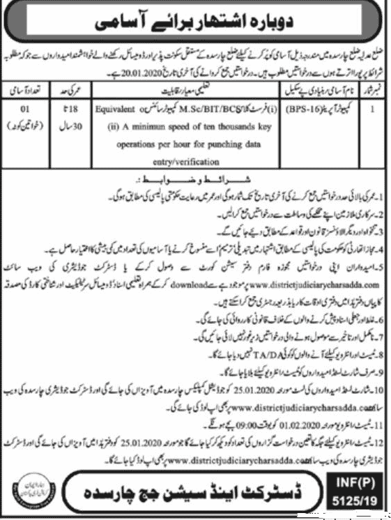 District Session Court Charsadda Jobs 2019