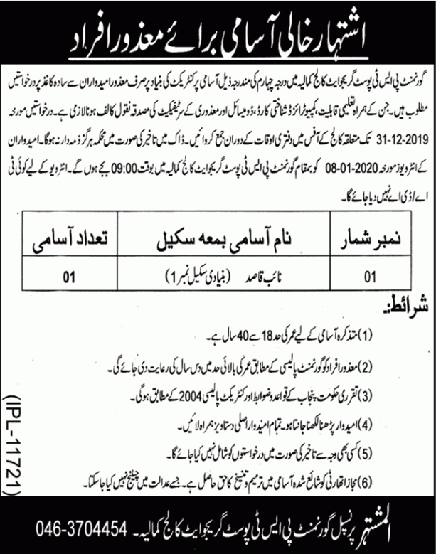 Govt Post Graduate College jobs 2019