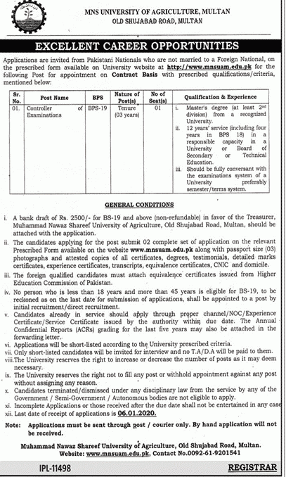 MNS University of Agriculture jobs 2019