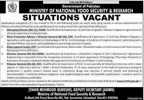 National Food Security and Research Jobs 2019