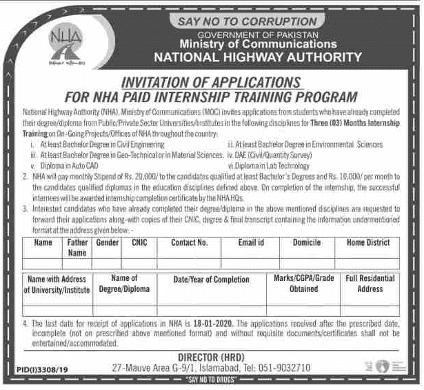 National Highway Authority NHA Jobs 2019