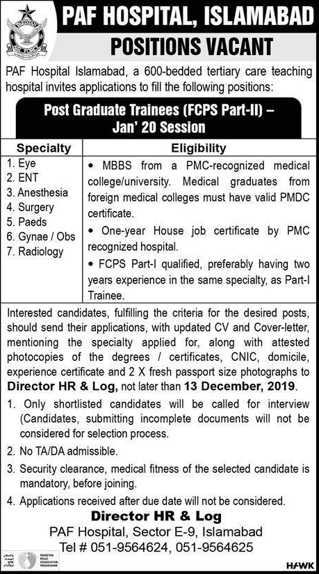 PAF Hospital Islamabad Jobs 2019