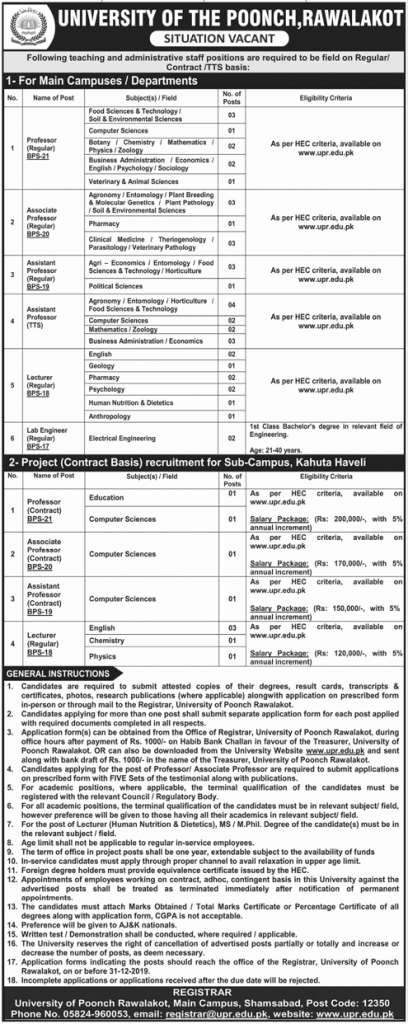 University of Poonch Rawalakot jobs 2019