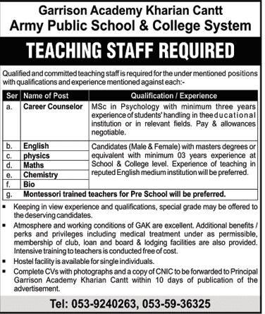 Army Public School College Jobs 2020