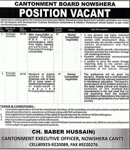 Cantonment Board Nowshera Jobs 2020