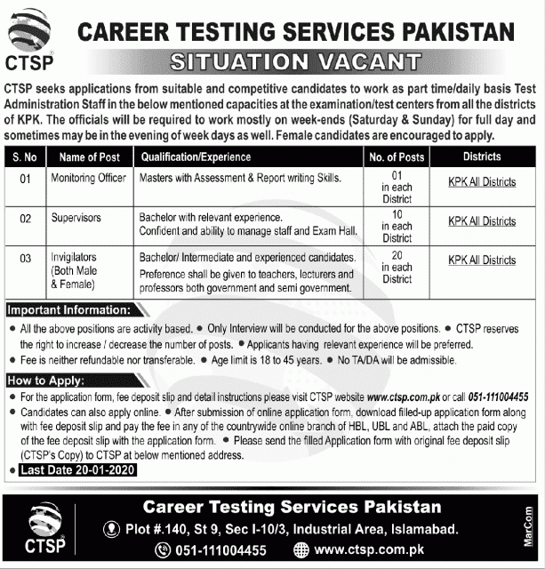 Career Testing Services Pakistan 2020
