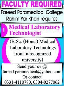 Fareed Paramedical College Jobs 2020