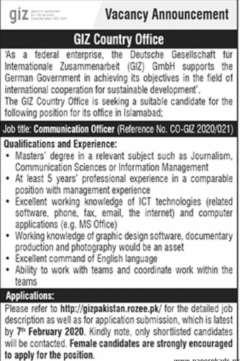 Giz Country Office Jobs 2020