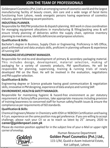Goldenpearl Cosmetics Pvt Ltd Jobs 2020