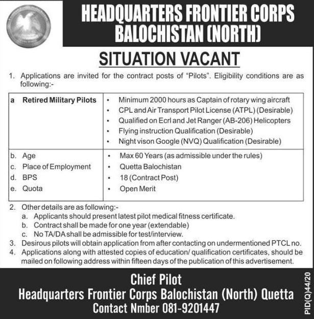 Headquarters Frontier Corps Jobs 2020