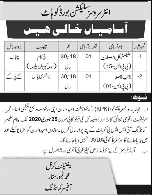 Inter Services Selection Board Jobs 2020