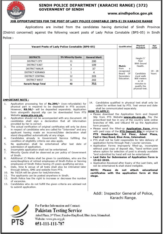 Lady Police Constable Jobs 2020