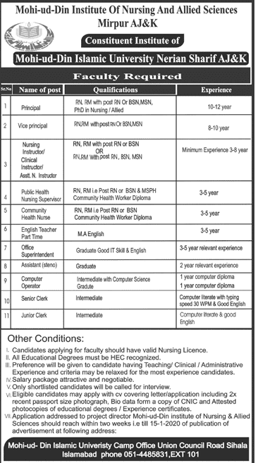Mohi ud Din Islamic Medical College Jobs 2020