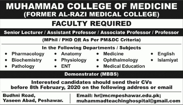Muhammad College of Medicine Jobs 2020