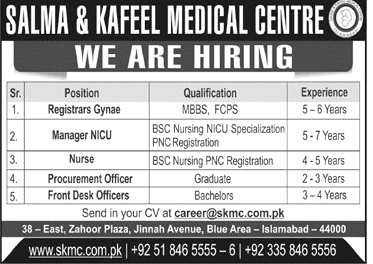 Salma and kafeel Medical Centre Jobs 2020