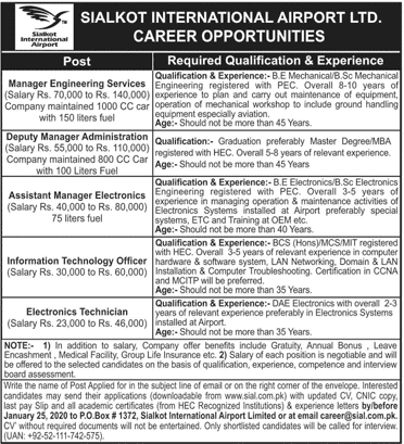 Sialkot International Airport Jobs 2020