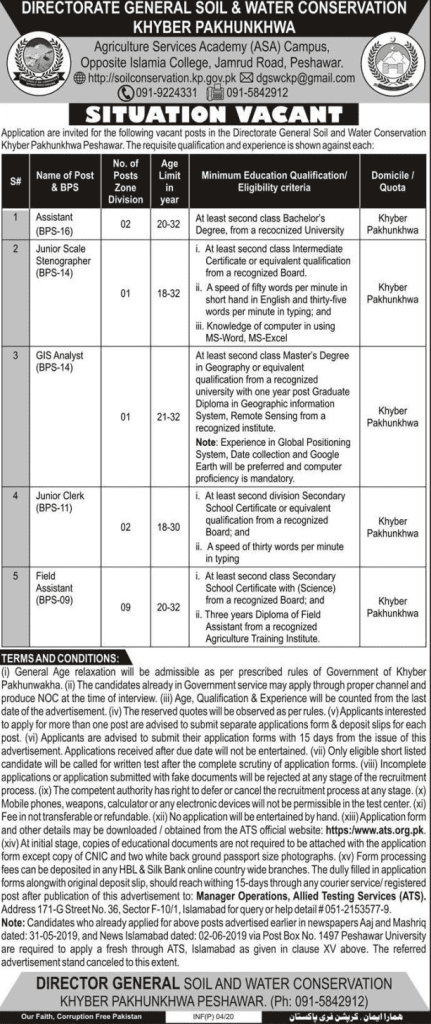 Soil and Water Conservation KPK Jobs 2020