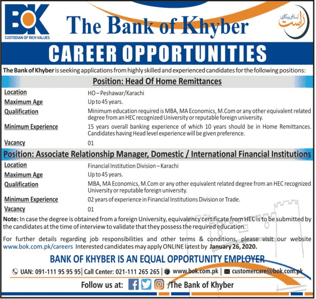 The Bank of Khyber Peshawar Jobs 2020