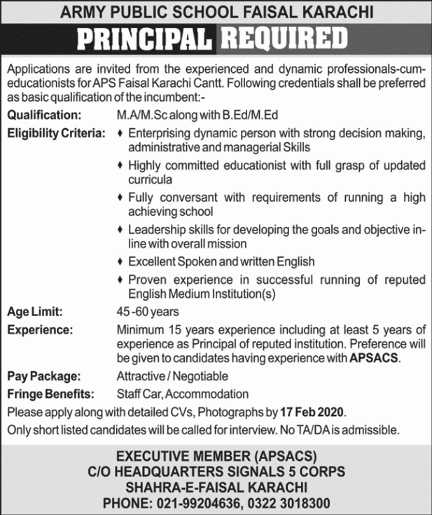 Army Public School Jobs 2020