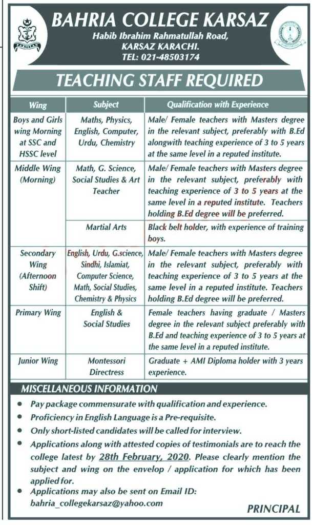 Bahria College Karsaz Jobs 2020