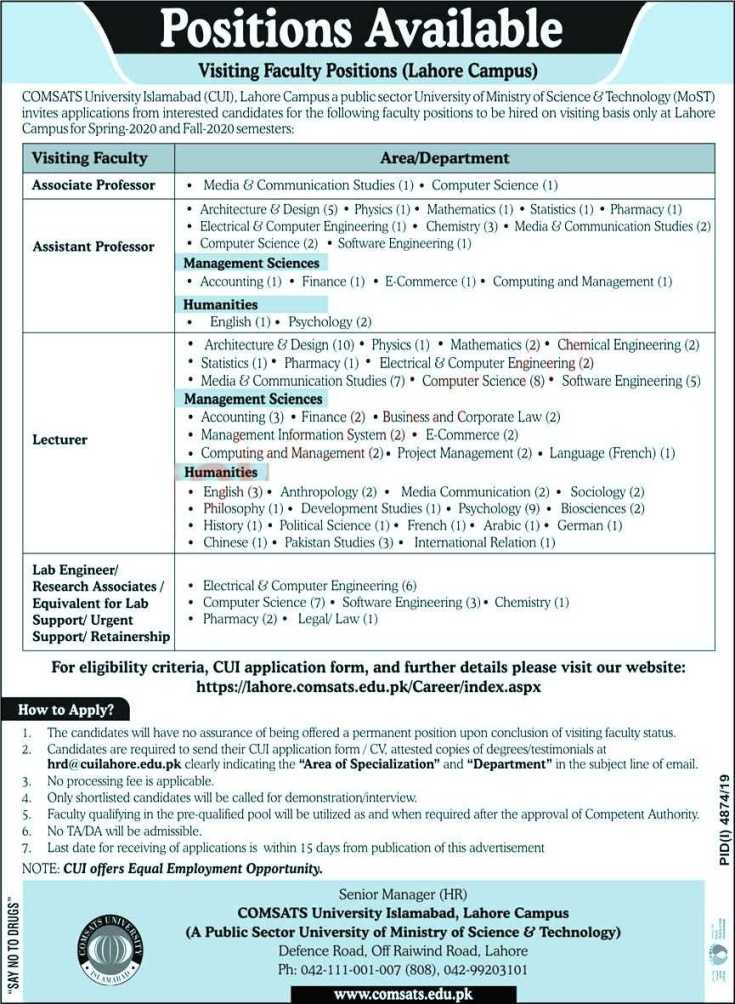 Comsats University Jobs 2020