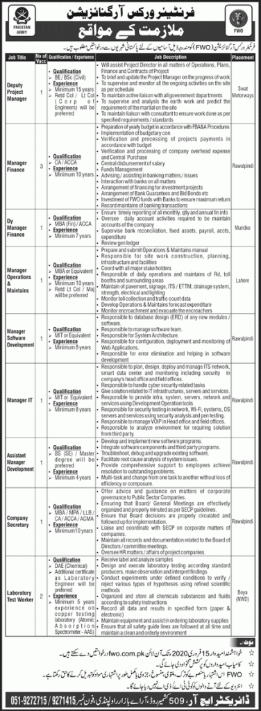 Frontier Works Organization Jobs 2020