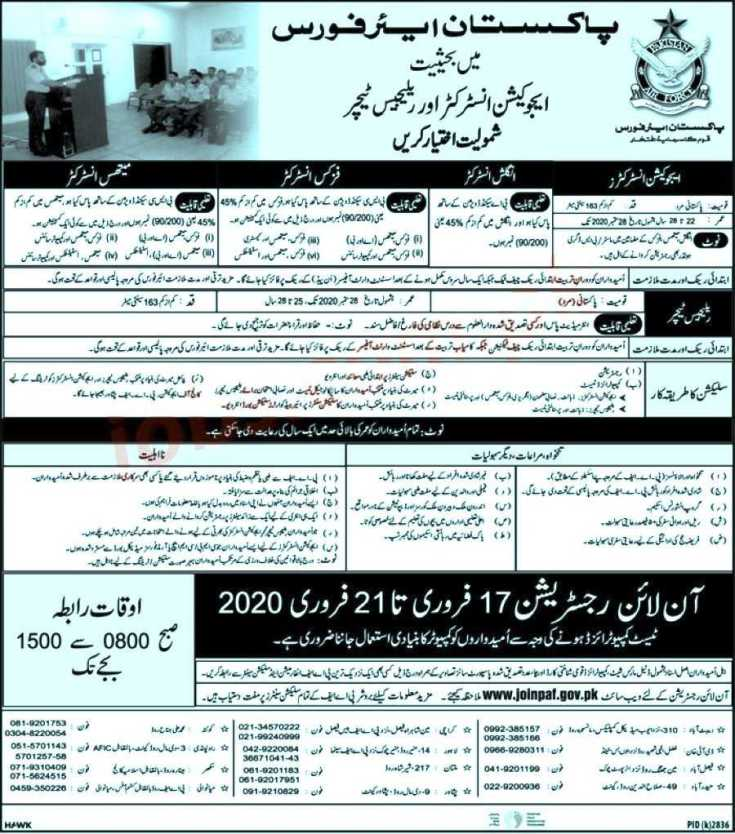 Join Pakistan Air Force Jobs 2020