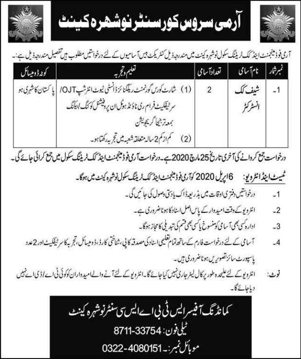 Army Food Management Jobs 2020