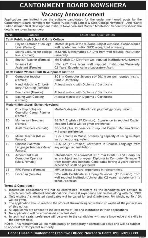 Cantonment Board Jobs 2020
